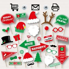christmas photo booth printable props christmas party photo booth props santa hat and beard
