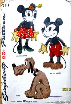 Mickey, Minnie, and Pluto pattern - 1945.