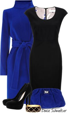 """Blue Coat"" by denise-schmeltzer ❤ liked on Polyvore"