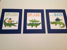 Delightful Alligators Kids Bathroom Art, Splish Splash In The Bath, Madras Gators Art  Prints, Kids Batrhoom Art,alligator Bathroom Art