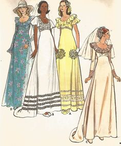UNCUT VINTAGE BRIDAL GOWN WITH SCOOP NECKLINE, EVENING LENGTH  SEWING PATTERN
