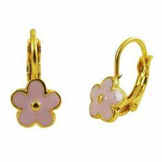 "Light Pink Enamel Flowers 18k Yellow Gold Plated Kids Girls Leverback Pierced Earrings Kids Jewelry USA. $19.47. Free Jewelry Pouch Included. Light Pink Enamel. .69"" Length. 18k Yellow Gold Plated. Save 65% Off!"