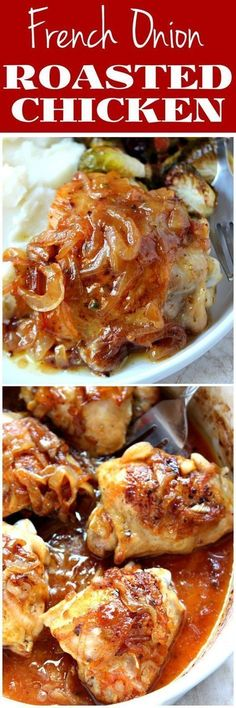 French Onion Roasted Chicken Recipe - combining two classic comfort foods into one incredibly indulgent and satisfying dish. Each piece is juicy and flavorful. chicken recipes dinners,cooking and recipes Roast Chicken Recipes, Turkey Recipes, New Recipes, Cooking Recipes, Healthy Recipes, Favorite Recipes, Flour Recipes, Bread Recipes, Casserole Recipes