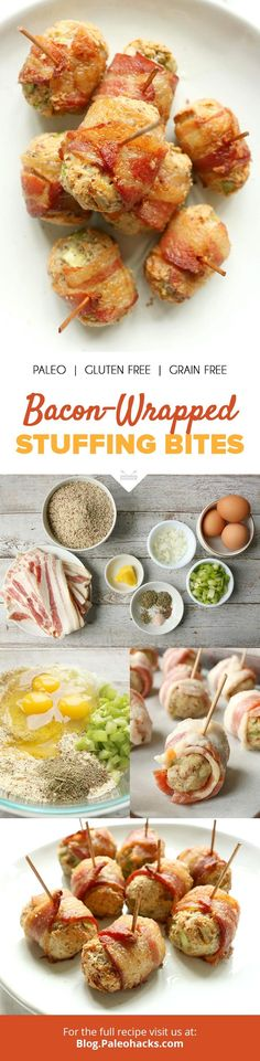 Deliciously grain-free stuffing gets wrapped in savory bacon for the perfect holiday appetizer! Get the full recipe here: http://paleo.co/baconstuffingbites