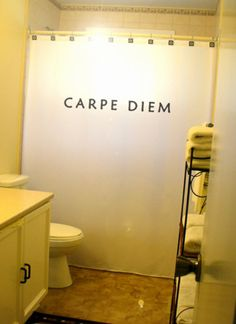 Carpe Diem Shower Curtain Quote Bathroom Decor Kids bath Seize The Day Latin Saying Motivational Inspirational inspire motivate uplifting