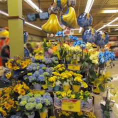 Yellows and blues. Princess too. 10th & Reed display. #ACMEMarkets