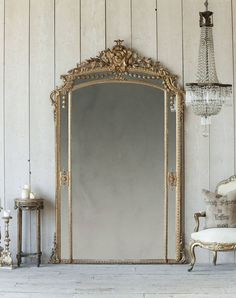Magnificent antique French ballroom mirror in shimmering gilt. Description from . I searched for th Old Mirrors, Vintage Mirrors, Big Floor Mirrors, Antique Floor Mirror, Décor Antique, Antique Decor, Gold Circle Mirror, Sun Mirror, Tall Mirror