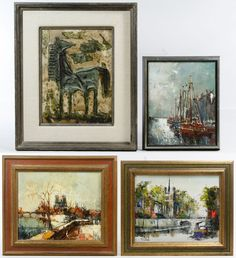 Lot 641: Oil on Canvas and Board Painting Assortment; Four paintings, three are illegibly signed lower left or lower right, two depicting cityscapes, seascape and a horse