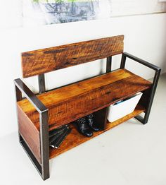 Reclaimed Wood Storage Bench | Kick off those work boots and take a seat. Reclaimed barn wood... | Benches