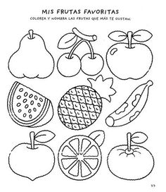 Cocina – Recetas y Consejos Art Drawings For Kids, Easy Drawings, Color Activities, Preschool Activities, Numbers Preschool, Kreative Jobs, Fruit Coloring Pages, Kids Class, Early Childhood Education