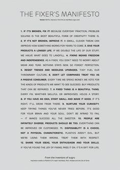 Sugru Fixer's Manifesto (and we editors are fixers)