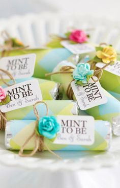 Adorable Wedding Favors. Would be neat in metallic and white. For more wedding tips and ideas go to my blog. www.mrspurplerose.com