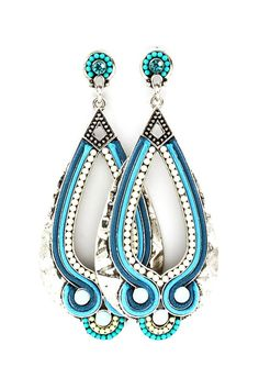 Turquoise Boho Owl Teardrop Earrings ♥ Love. Big earrings are in this season, and these look great!