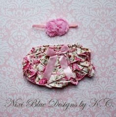Ivory ruffle bloomer Floral Diaper cover and Headband SET Newborn photo prop Baby lace bloomers Newborn headband Flower Baby Christening