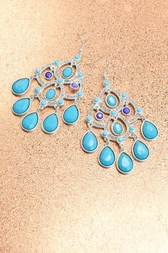 Boston Proper Turquoise chandelier earring #bostonproper