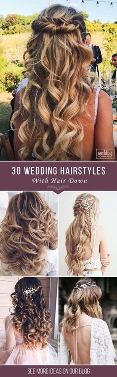 30 Exquisite Wedding Hairstyles With Hair Down Wedding hairstyles with hair down are perfect for spring or summer celebration. Have inspired with our wedding hairstyle ideas for hair down. Wedding Hair Down, Wedding Hair And Makeup, Bridal Hair, Wedding Bride, Bridal Crown, Crown Hairstyles, Bride Hairstyles, Hairstyle Ideas, Hair Ideas