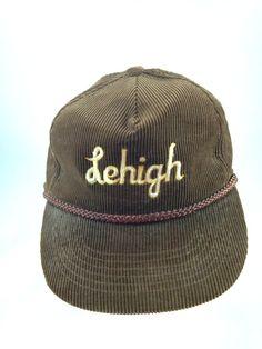 "Lehigh University Snapback Baseball Cap Brown Corduroy ""Dad"" Hat Vintage #TournamentApparel #BaseballCap"