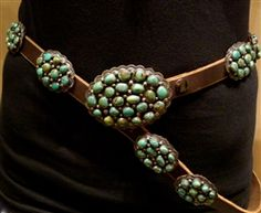 Southwestern Navajo Sterling Silver and Green Turquoise Concho Belt