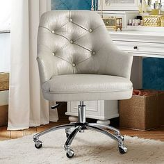 Twill Tufted Desk Chair - This puppy BELONGS in my office :) In navy or grey! Tufted Desk Chair, Upholstered Chairs, Swivel Chair, Dorm Chairs, Furniture Chairs, Office Chairs, Office Nook, Furniture Ideas, Adjustable Office Chair