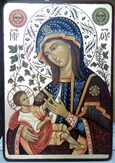 Hodegetria is an icon illustrating St. Mary holding the Christ child on her side while gesturing to Him as our source of salvation. Religious Images, Religious Icons, Religious Art, Blessed Mother Mary, Blessed Virgin Mary, Immaculée Conception, Images Of Mary, Mama Mary, Mary And Jesus
