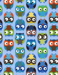 Owls Blue Timeless Treasures Fabrics  Mod by spiceberrycottage, $8.95