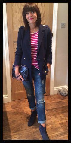 Longline blazer with breton, distressed denim, sparkly clutch & navy ankle boots www.mymidlifefashion.com