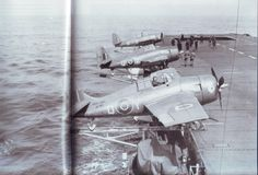 VIs of a fighter flight attached to 853 Sqd. aboard HMS Tracker, in May Note the tail wheel outriggers that allowed the aircraft to be stowed almost fully clear of the main flight deck. Grumman Aircraft, Navy Aircraft, Military Aircraft, Ww2 Planes, Vintage Airplanes, Flight Deck, Nose Art, Air Show, Aircraft Carrier