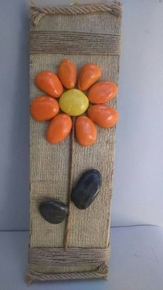 Lovely Flower Pebble art Stone Art Birthday Gift by StefArtStone Stone Crafts, Rock Crafts, Arts And Crafts, Stone Pictures Pebble Art, Stone Art, Rock Painting Ideas Easy, Rock Painting Designs, Pebble Painting, Stone Painting