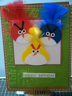 Angry Bird birthday card but it also gave me an idea for pin the tail in the angry bird