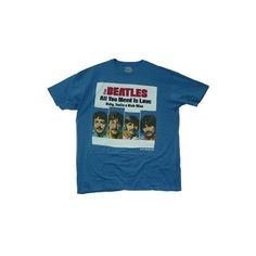The Beatles All You Need Is Love Single Sleeve Die Cast Collectible,... ($13) ❤ liked on Polyvore featuring tops, t-shirts, shirts, sleeve t shirt, blue shirt, blue t shirt, blue top and blue tee