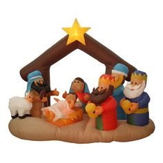 6.5-ft. Pre-Lit Inflatable Nativity Scene Outdoor Christmas Decor, Multicolor