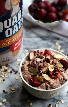 Made with Quaker® Old Fashioned Oats, chia seeds, cherries, and almonds, this chocolate Black Forest Overnight Oats breakfast recipe is great for preparing the night before and enjoying the next morning.