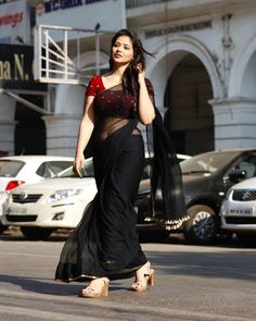 black plain georgette saree ready to wear custom made velvet red blouse womens wedding party wear sa Beautiful Girl Indian, Most Beautiful Indian Actress, Beautiful Saree, Plain Georgette Saree, Cotton Saree, Black Saree Plain, Black And Red Saree, Black Saree Blouse, Satin Saree