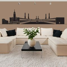 Mecca Skyline Wall Sticker. Islamic wall art for your walls and interiors does not get more accurate and perfect with this Mecca skyline wall sticker showing the greatest Muslim attractions like the Kabba, Masjid al Haram and Abraj Al Bait. http://walliv.com/mecca-skyline-wall-sticker-wall-art-decal