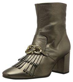 Knöchel Schwarz Beige Leder Stiefeletten für Frauen Gold