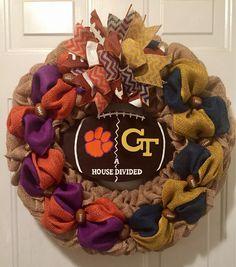 A personal favorite from my Etsy shop https://www.etsy.com/listing/542071512/clemson-wreath-georgia-tech-wreath