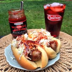 Cheerwine® sausage from Lowe's Foods' Sausage Works - topped with slaw and Cackalacky® Cheerwine® Sweet Sauce!