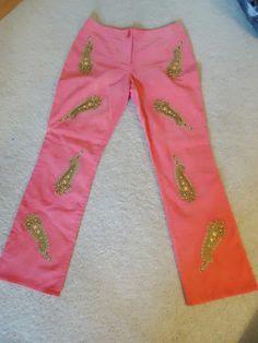 C.J.Laing Pink Corduroy funky embroidered Paisley pant Sz 4 Hippie Retro Vintage