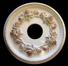 Shabby Rose 16 Diameter Ceiling Medallion for by on Etsy Tin Ceiling Tiles, Ceiling Decor, Gypsum Ceiling Design, Gypsum Decoration, Rose Garland, Ceiling Medallions, Antique Paint, Crackle Glass, Spice Things Up