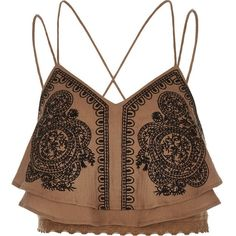 River Island Brown embellished cropped cami ($40) ❤ liked on Polyvore featuring tops, lace tank, lace camisole tank, brown tank top, lace camisole and lace camisole tops