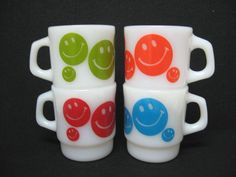 Set 4 Anchor Hocking Fire King smiley face happy face MUGS red orange green blue
