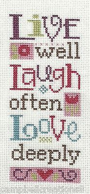 Finished Completed Cross Stitch Lizzie Kate Live Laugh Love Now Preorder | eBay