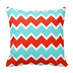 Aqua and Red Chevron Throw Pillow #decampstudios