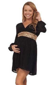 31f55b9b6673b Maternity Formal Party Chiffon Sequin V Neck Long Sleeve Mini Empire Waist  Dress at Amazon Women's Clothing store: