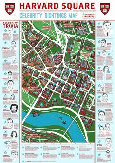 A celebrity walking map for Harvard University