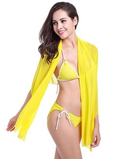 Spikerking Women's Sexy Halter Dress Fashion Beachwear Bikini Cover up,Yellow. MATERIAL: Polyester, Light Weight, Very Cozy And Comfortable. VARIOUS WEARING STYLES ¨C Multi-functional design that is convenient and easy to wear and comes in a semi sheer design with v neck or scoop that is super comfortable and breathable for those long summer days and offer an embellished neckline, elastic waistband style. PURPOSE ¨C perfect for spring casual and summer travel,Beach and other outdoor…