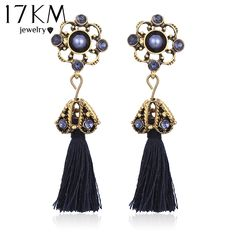 New Fashion Tassel Stud Crystal Flower Vintage Statement Earrings For Women Indian Jewelry //Price: $8.39 & FREE Shipping //     #jewelry #istylemyway