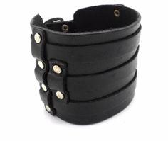 "New Biker Genuine Bracelet Women/ Men's Cut-out Studded Leather fits 7-9"" #Unbranded #Cuff"