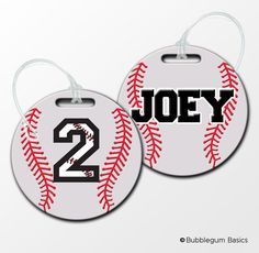 Personalized BASEBALL BAT Bag tag Luggage ID Tag Fiberglass custom name number sports. $10.00, via Etsy.
