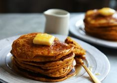Yossy Arefi's Fluffy Pumpkin Pancakes Recipe - NYT Cooking Pumpkin Pancakes, Pumpkin Puree, Scones, Brunch, Lemon Sauce, Cheesy Chicken, Lemon Chicken, Pumpkin Recipes, Pumpkin Dishes